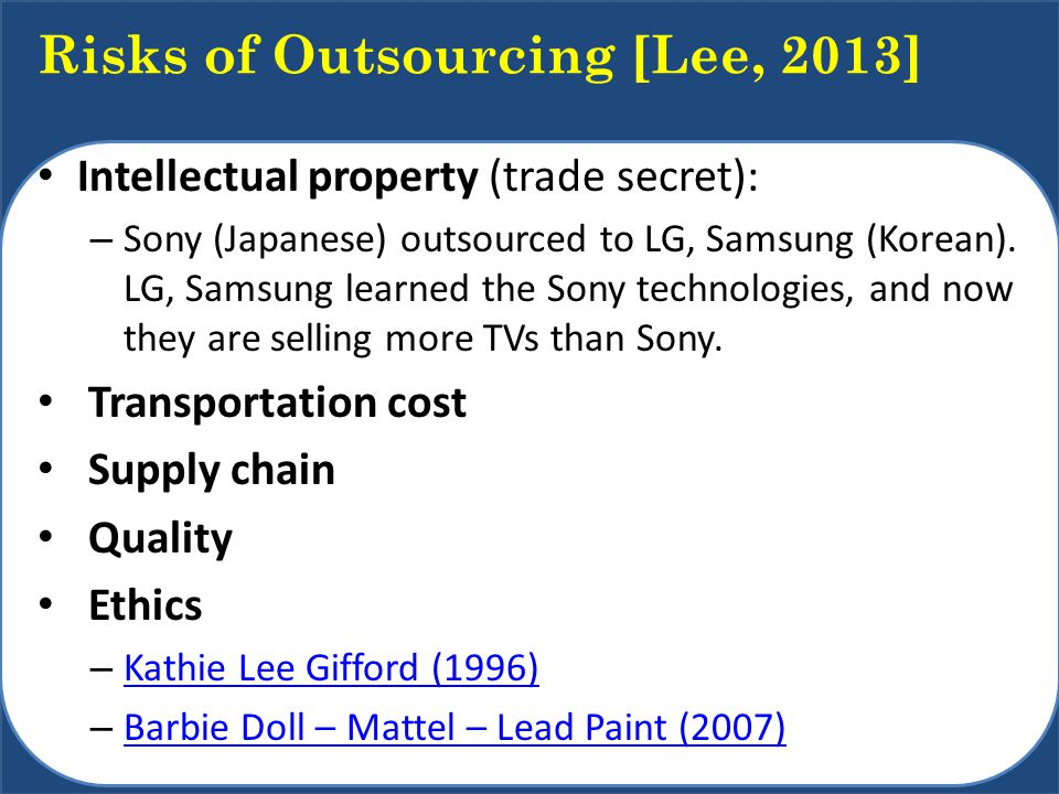 Risks of Outsourcing [Lee, 2013]